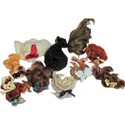 """10 Mini Mohair Doll wigs for tiny 3 1/2""""-6 1/2"""" all bisque Antique German, French/ Mignonette / Doll house dolls"""