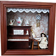 "Lovely 2 1/2"" All Bisque Antique Miniature DollHouse doll in Reutter Porcelain Shadow Box"