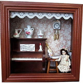 """Lovely 2 1/2"""" All Bisque Antique Miniature DollHouse doll in Reutter Porcelain Shadow Box"""