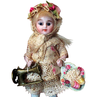 """Sweet 3 1/2"""" All Bisque Miniature (glass eyes) Antique Mignonette Dollhouse doll"""