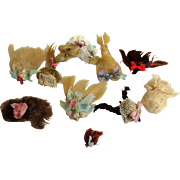 """10 Mini Mohair Doll wigs for tiny 1""""-4"""" all bisque Antique German, French/ Mignonette / Doll house dolls"""