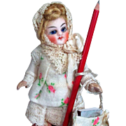 """ Back To School"" Tiny Precious 3 1/4"" Antique Bisque  Miniature Dollhouse(Glass eyes, Swivel neck) Doll"