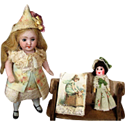 """ Happy Childhood""  Sweet 3 3/4"" All Bisque ( Side glancing glass eyes) Antique Mignonette Dollhouse doll & Dolly in keepsake Box"