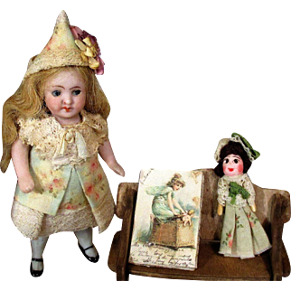 """Sweet 3 1/2"""" All Bisque ( Side glancing glass eyes) Antique Mignonette Dollhouse doll & Dolly"""