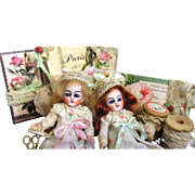 """Two Sweet 4"""" Bisque Head (glass eyes, Swivel neck) Miniature Mignonette Dollhouse doll sisters in Lace box"""