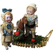 """Two So Cute 4"""" All Bisque Miniature German Dollhouse Doll Brother & Sister & a Pony"""