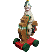 """Tiny 3 1/2"""" Bisque head, poseable Miniature dollhouse Christmas elf boy doll on Rooster/ Ornament"""