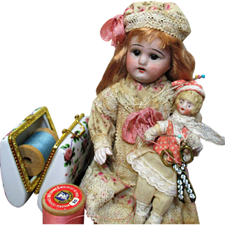 """Sweet 8"""" Antique Bisque Head Doll & Tiny 4"""" Bisque head Sew Box Elf Dolly"""