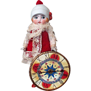 """Tiny 4"""" All Bisque (swivel neck) Miniature Dollhouse Doll ( Clock Face)"""