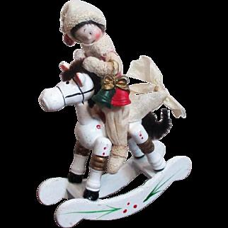 "Mini 3 1/2"" Bisque head, poseable Miniature dollhouse Christmas elf boy doll on Rocking Horse / Ornament"