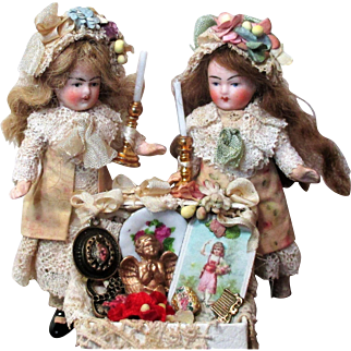 """Sweet 4"""" Bisque Head Antique Miniature Doll house doll"""