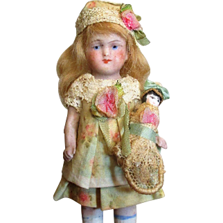 """Sweet Little 4"""" All Bisque Miniature German Dollhouse doll & Dolly"""