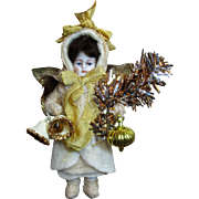 """"""" Glad Tidings"""" Lovely 5"""" Vintage Bisque Miniature Christmas Angel doll/ Ornament"""