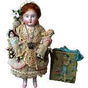 """Gorgeous 6"""" All Bisque German Mignonette Doll with two tiny all bisque babies"""