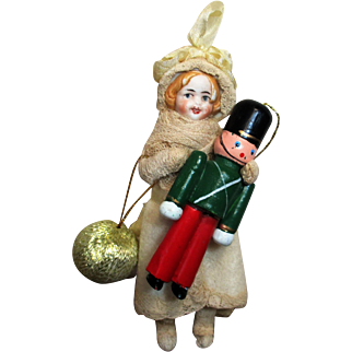 """"""" Fairy tale Love"""" Little Girl & the wooden toy Soldier"""" sweet 5"""" Bisque head Miniature Poseable little girl doll & toy soldier ornament"""
