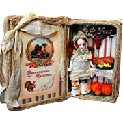 """ Thanksgiving Greetings"" Tiny 3"" all Bisque Miniature Antique Dollhouse Doll & kitten in Display Box"