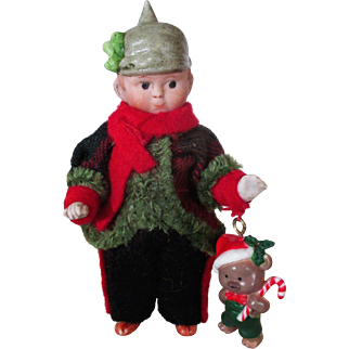 """"""" Home For Christmas"""" Tiny 4 1/2"""" All Bisque German Miniature Soldier & Teddy bear"""
