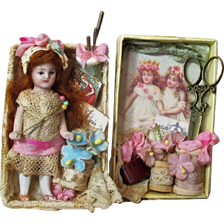 """Tiny 3"""" All Bisque German Miniature Dollhouse doll in Sew room display box"""