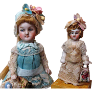 "Two Lovely 3 1/2"" & 2"" All Bisque Miniature Dollhouse mignonette dolls"