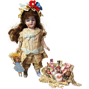 """Sweetest 3 1/2"""" All Bisque German Mignonette doll with mini toy box"""