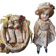 """Lovely 5 1/2"""" All Bisque Antique (Swivel head) German Mignonette Doll & two tiny 2"""" Babies in Crib"""