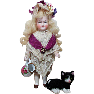 "Beautiful 5"" All Bisque German Mignonette Lady doll & Kitten"