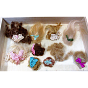 """10 Mini Mohair Doll wigs for tiny 2 1/2""""-4 1/2"""" all bisque Antique German, French/ Mignonette / Doll house dolls"""