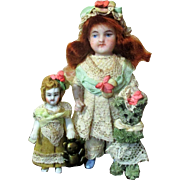 """Sweet Little 3 1/2"""" All Bisque German Dollhouse doll, 2"""" Tiny sister dolly & friends"""