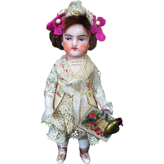 "Lovely 3 1/2"" All Bisque Antique German Mignonette Doll"