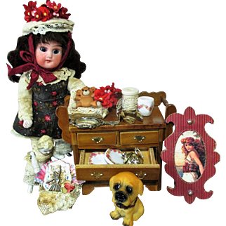 "Sweet 5 1/2"" All Bisque (glass eyes, Swivel head) Mignonette Doll,  2 1/4"" Dolly & Puppy With mini accessories"