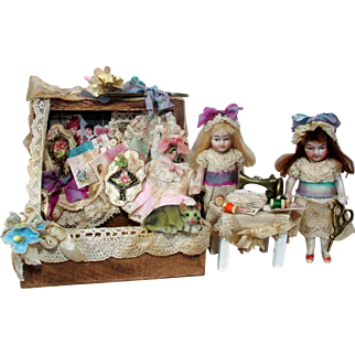 """ Sew Box Sisters"" Two sweet 3"" All Bisque German Miniature Dollhouse dolls & Kitty friend in sew box Display"