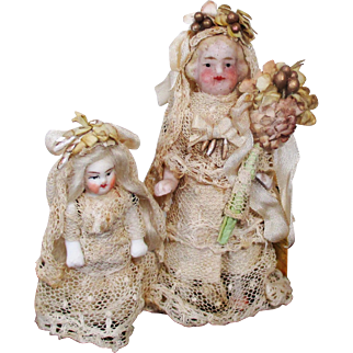"Two Sweet 2"" & 3"" All Bisque Miniature German Dollhouse Bride Dolls"