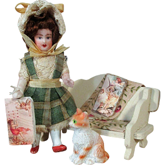 """ Lazy Afternoon Fairy Tales"" Sweet 3"" All Bisque Miniature Dollhouse doll & Kitty"