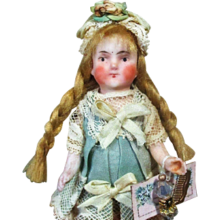"Sweet & Tiny  3 1/2"" All Bisque German Mignonette Doll"