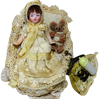 "Tiny 3 1/2"" All Bisque Miniature German Baby doll & teddy bear"