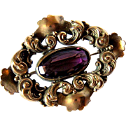 Late Victorian Art Nouveau Influence Amethyst Crystal/Glass Sash Brooch