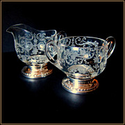 Sheffield Sterling Silver Footed and Etched Depression Glass Sugar and Creamer - Larger Size