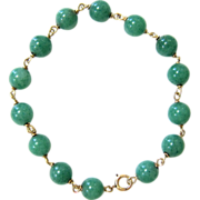 Vintage 14K Yellow Gold and Green Aventurine Bead Bracelet