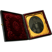 Civil War Era Tintype Photograph in Elaborate Case with Clasp – Hand Tinted