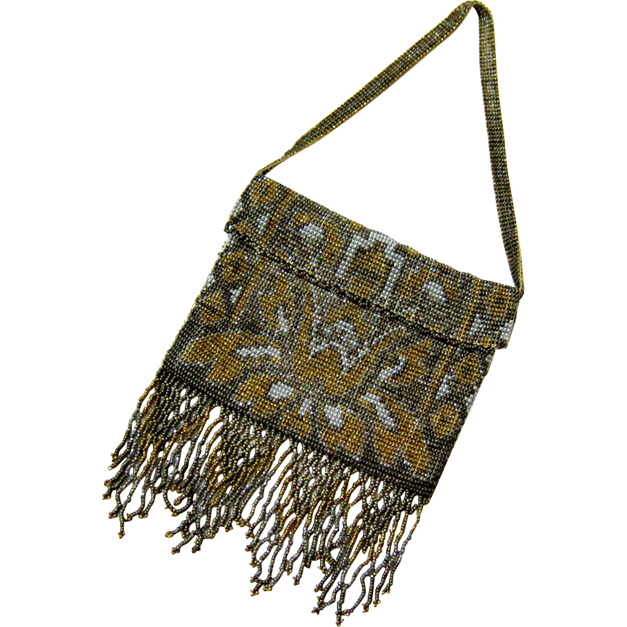 Early Art Deco Cut Steel Micro bead Dress Bag - Flapper Era