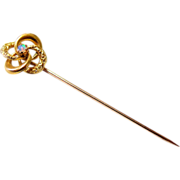 Victorian 10KT Yellow Gold Repousse Fiery Opal Love Knot Stick Pin