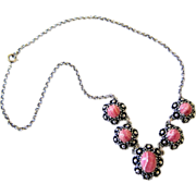 Rhodochrosite and Silver (835) Necklace