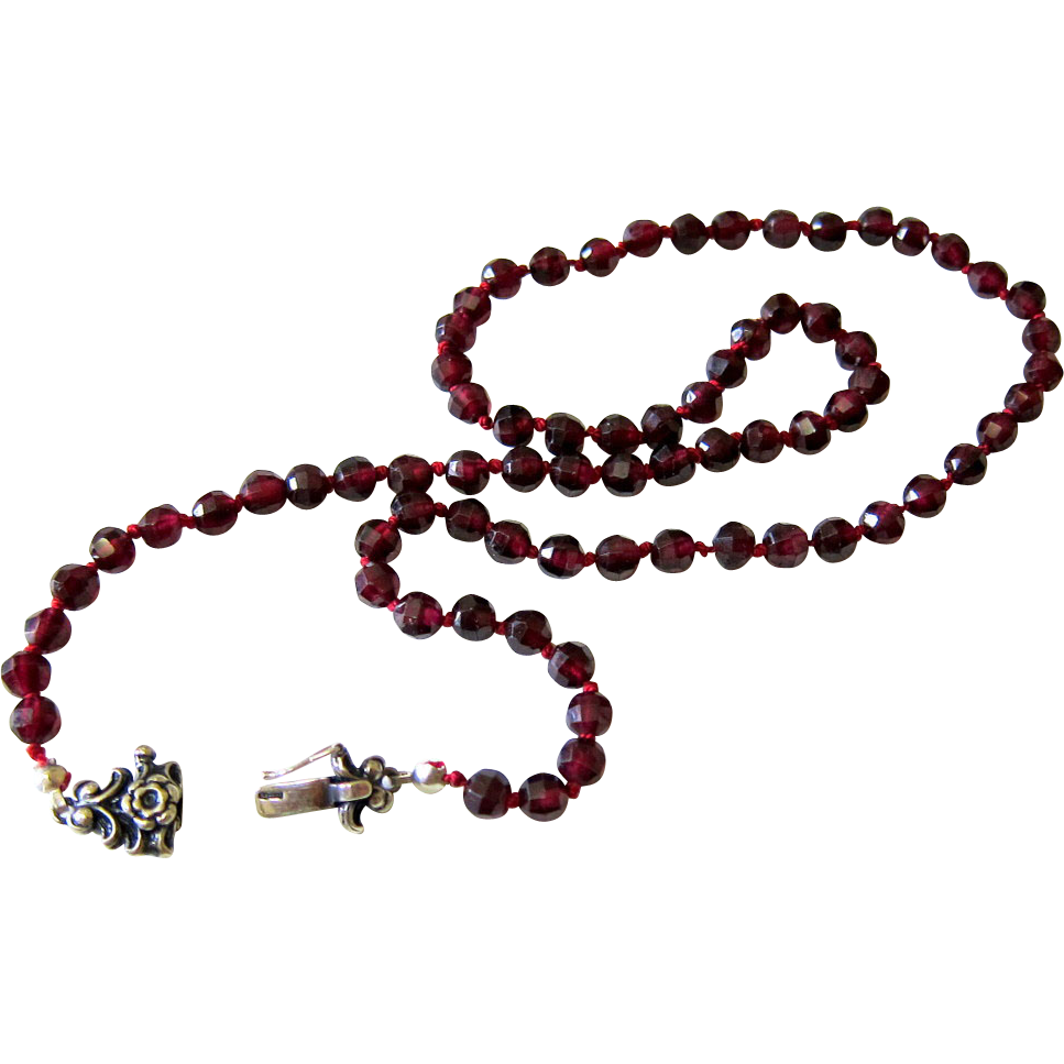 rhodolite garnet bead necklace with signed silver 835