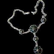 Antique Silver Turquoise Cloisonné Lavalier Necklace