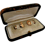 Antique 10Kt Yellow Gold Carved Etched Bean-back Style Cufflinks - Presentation Box Included