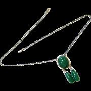 Art Deco Silver (800) Aventurine Necklace - Hallmarked