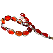 Art Deco Carnelian Agate Sterling Silver Bracelet with Matching Clasp
