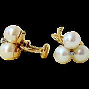 Triple Pearl Diamond 14kt Yellow Gold Screw back Earrings