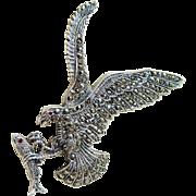 Marcasite Garnet Sterling Silver Eagle Brooch