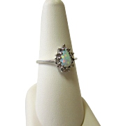 Fiery Opal and Diamond 14kt White Gold Ring - Signed